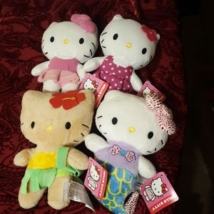 Set of 4 New Hello Kitty Plush
